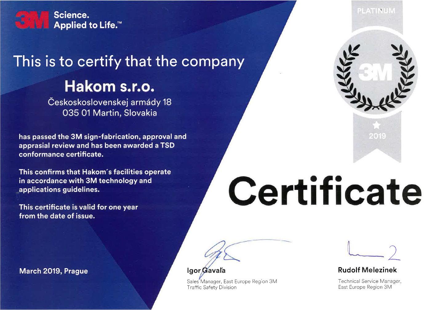 TSD conformance certificate :: Hakom sk